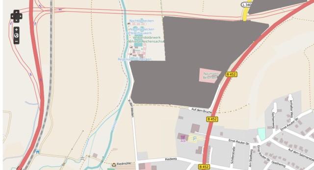 Der Kartenausschnitt ist ein bearbeitetes Bildschirmfoto von der Internetseite: http://www.openstreetmap.de